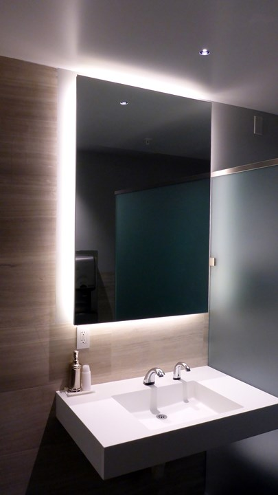 behind mirror lighting. dl2 2inch led recessed downlight and m116 linear light for floating mirror lighting behind t